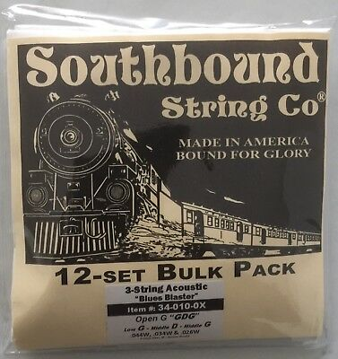 "Cigar Box Guitar 12 Pack Strings Set (Open G / Standard Tuning) ""Blues Blaster"""