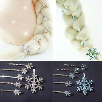 Girls Hair Clips Princess Crystal Snowflake Hairpin Kids Hair Clip 6 pcs/set c