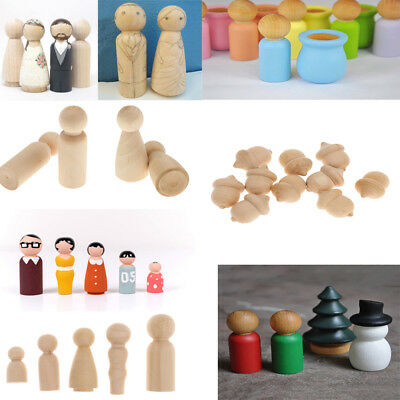 Funny Unfinished DIY Wooden People Peg Dolls Wedding Cake Toppers Craft