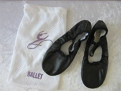 BOYS BALLET DANCE SHOES - Size 3B Black LEATHER w Cotton lining. Hardly eva worn