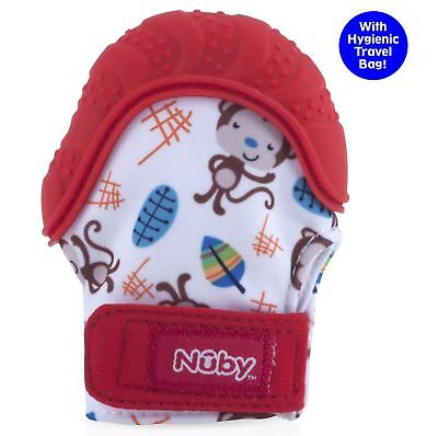Nuby Happy Hands Soothing Teething Mitten with Hygienic Travel Bag Red