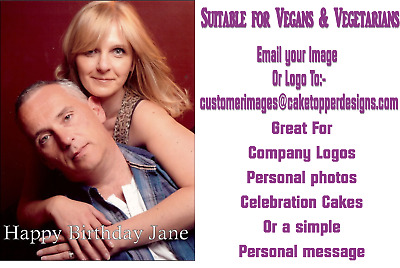 """YOUR OWN PERSONALISED PHOTO MESSAGE EDIBLECAKE TOPPER FOR A4 Size (10"""" x 7.5"""")"""