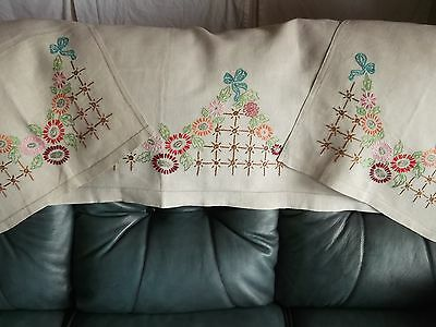 Vintage hand embroidered linen sofa/chair back covers
