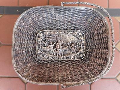 c.1920's Antique Silver Plated Table Top Basket Depicting Native Party Scene