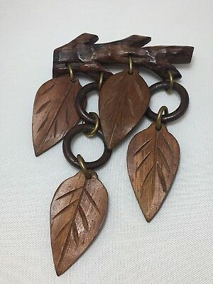 Vintage ~ Carved Wooden Bar Pin Brooch With ~ Dangle Drop Leaves  RARE