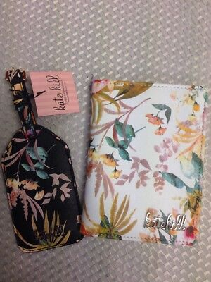 KATE HILL White Floral Print passport holder And Matching Black Luggage Tag New