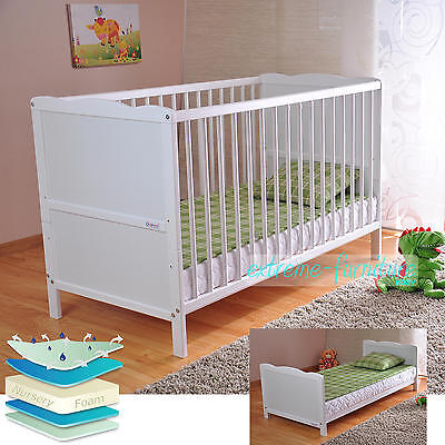 White Solid Wood Baby Cot Bed & Deluxe Foam Mattress Converts to Junior Bed New