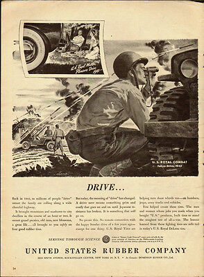 1945 Vintage ad for United State Rubber Company~U.S. Royal Combat Tokyo Drive