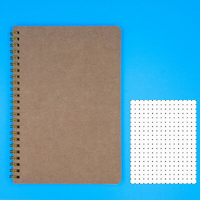 "Dotted Notebook A5 - Spiral Dot Grid Paper Notebook - Tan Cover 5.5""X8.5"""