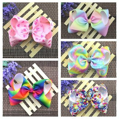 Girls 8 Inch Boutique Hair Accessory Knot Grosgrain Ribbon Hair Bow Hair Clips