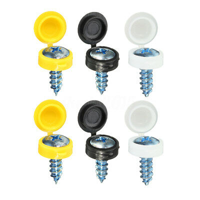 Number Plate Fixing Hinge Cover Kit Black White Yellow Caps S/Taping Screws