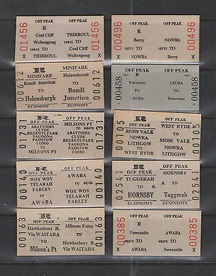 New South Wales 1970 10 White #546 Railway Tickets $20