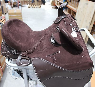 Unicorn Australian Brown Fully Mounted Suede Stock Trail Saddle W/ Horn 16 17 18