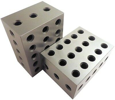 Blocks Matched Pair Hardened Steel RC 23 Holes Precision Ground Machinist Set Up