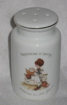 Vintage Holly Hobbie Porcelain Pepper Shaker - Happiness is someone to care for