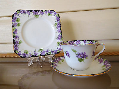 "Royal Doulton ""Violets"" Trio H3747 Made In England 1930s"