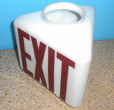 Vintage Exit Sign White Milk Glass 3-Sided Triangle Ceiling Light Globe Theater