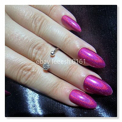 PINK HOLO HOLOGRAPHIC false nails, stick on, press on, stiletto, rainbow