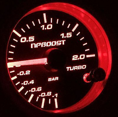 "JDM 52mm 2"" Black 7 Color LED 2 BAR 30 PSI Turbo Boost Gauge Pressure Display"