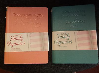 2018 Family organiser A5 Week to View Organizer Flexi Cover Diary PINK/BLUE 2091