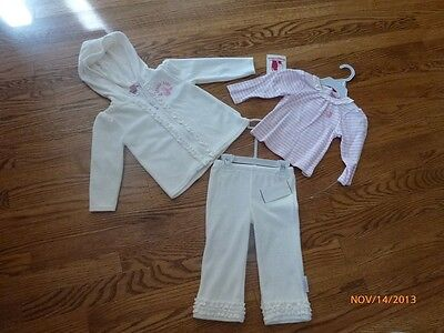 New Rugged Bear Baby girl 3 pcs set of hoodies - top - pants size 12 months