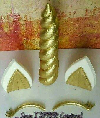 Edible Fondant Unicorn Horn, Ears and Eyes Cake Topper Set Gold, Silver, Bronze