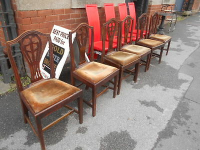 George Iii 1790 6 Country Hepplewhite Chairs  For Restoration Or Project
