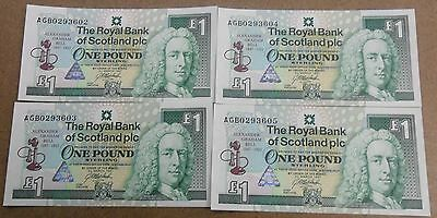 (4) Consecutive CU Sterling One Pound of Scotland Notes    ENN Coins