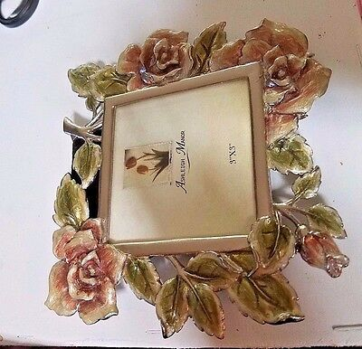 Ashleigh Manor 3X3 Pewter And Enamel Picture Frame Roses