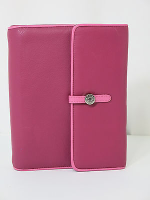 Franklin Covey Catalina Raspberry Pocket Binder Cover Leather  Planner New