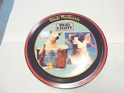 """round metal tray spuds mackenzie bud light before after 1986 12-1/4"""" beer"""