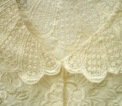 Vtg 70S 90S Sz M Embroidered Boho Ivory Open Weave Lace Romantic Delicate Blouse