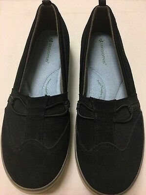 Ladies Size 8.5 Wide Black Suede Grasshoppers Slip On Loafers