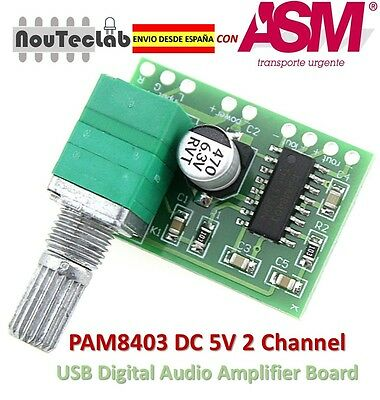 PAM8403 5V 2 Channel Digital Audio Amplifier with Potentionmeter Switch