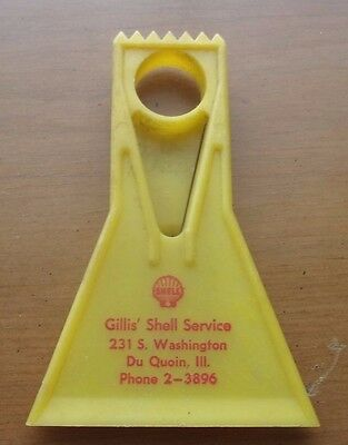 Old Vintage Shell Gas Service Station Advertisement Window Glass Scraper Visor