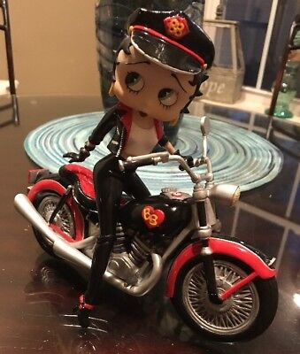 Biker Betty Boop On Motorcycle Porcelain Danbury Mint 1998 Rare