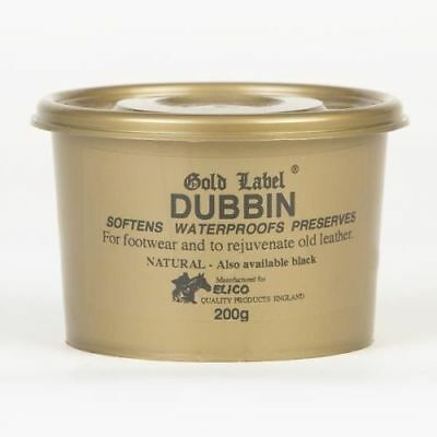 Gold Label Dubbin Natural 200gm Leather Waterproof Wax Horse Saddle Softener