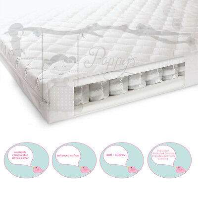 Poppy's playground Cot bed Pocket Sprung Mattress- 140 X 70cm / 120 x 60cm
