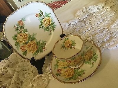 "Royal Albert Bone China Trio Cup/saucer/6"" Square Plate  England   Tea Rose"