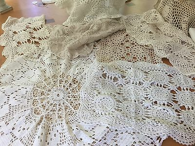 Lot of Vintage Crochet Table Cloths Runners Piano Scarf & More