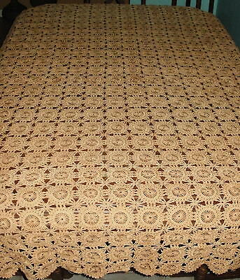 Antique Tablecloth -Bedspread -Handmade Crocheted & Tea Stained Color -Primitive
