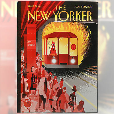 """THE NEW YORKER MAGAZINE August 07 & 14 2017 - Cover Bob Staake """"Hell Train"""""""