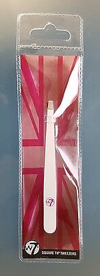 W7 Square Tip Eyebrow Tweezers - Removes Fine Stray Hairs From Eyebrows - Groome