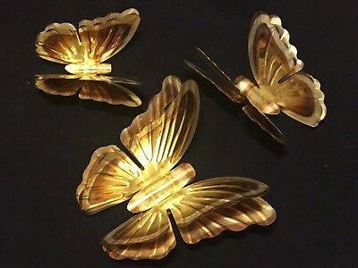 Homco Metal Brass Butterfly Lot Of 3 Double Wing Wall Decor