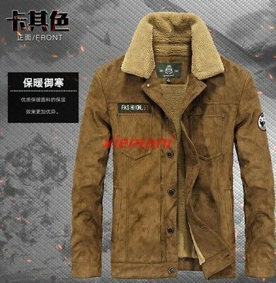 Mens Suede Leather Winter Warm Fur Lined Motorcycle Thick Coat Outwear Jacket 55