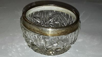 Antique Crystal & Sterling Silver Small Dish  -B628