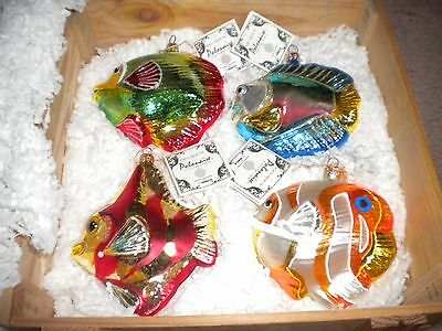 4 Kurt S. Adler Polonaise Collection Tropical Fish Ornaments MIB Wooden  w/ Tags