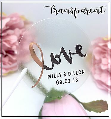 Love stickers Transparent personalise Gold, Silver or Rose Gold foil Wedding 24