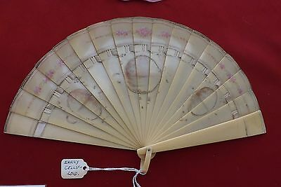 1905 Early Celluloid Brise Hand Fan Hand Painted Estate of Collector RARE