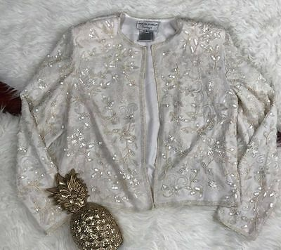 White floral jacket vines sequin beaded trophy open bolero Adrianna Papell Large